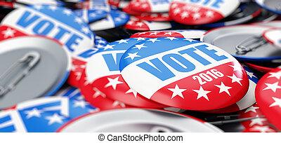 botón, elección, Plano de fondo, voto,  2016, insignia