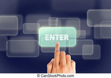 """botón empujar, """"enter"""", mano, dedo"""