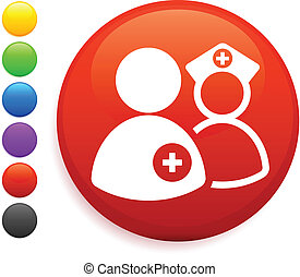 botón, enfermera, icono, redondo, internet, dcotr