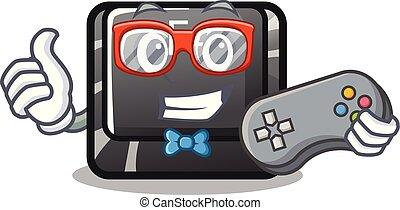 botón, f4, forma, caricatura, gamer