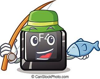 botón, f4, forma, caricatura, pesca
