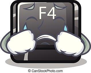 botón, f4, forma, llanto, caricatura