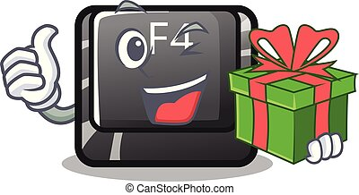 botón, f4, forma, regalo, caricatura