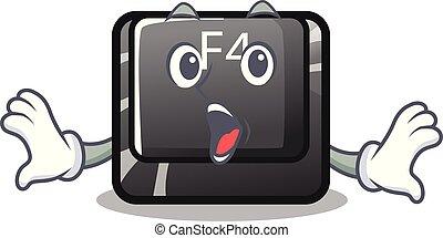 botón, f4, forma, sorprendido, caricatura