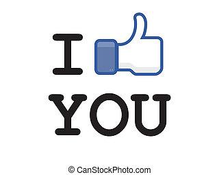 botón, facebook, como