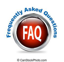 botón, faq, -, preguntado, preguntas, frequently, redondo