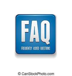 botón, faq, -, preguntas, frequently, preguntado
