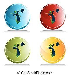 botón, feliz, graduado
