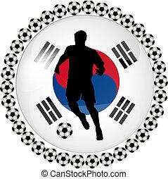 botón, futbol, corea del sur
