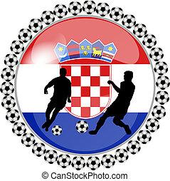 botón, futbol, croacia