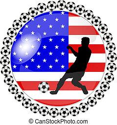 botón, futbol, estados unidos de américa