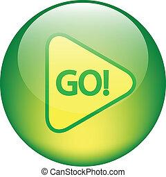 """botón, """"go"""", brillante"""