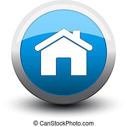botón, hogar, 2d, azul