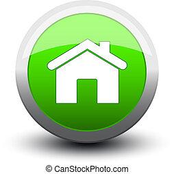 botón, hogar, 2d, verde