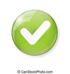 botón, ilustración, marca, vector, verde, cheque, icono