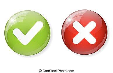 botón, ilustración, marca, vector, verde, cheque, rojo,...