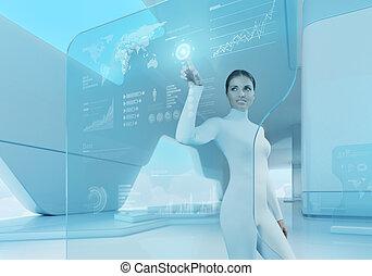botón, interface., technology., prensa, niña, futuro, ...