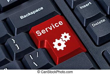 botón, internet, concept., servicio, rojo