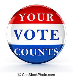 botón, -, interpretación, voto, condes, su, 3d
