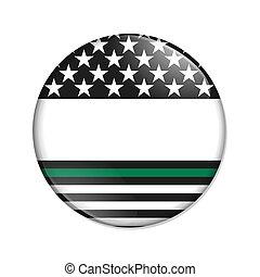 botón, línea, norteamericano, verde, delgado, mensaje en ...