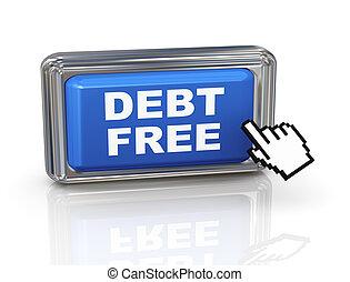 botón, -, libre, mano, cursor, deuda, 3d