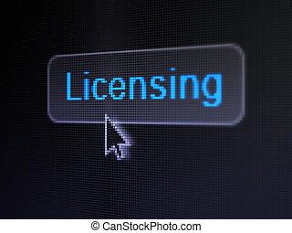 botón, licenciar, plano de fondo, digital, ley, concept: