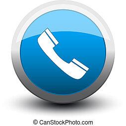 botón, llamada telefónica, 2d, azul