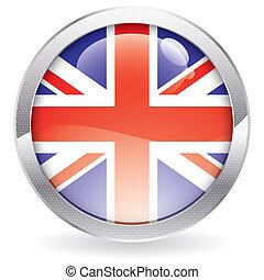 botón, lustre, bandera, británico