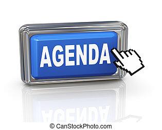 botón, -, mano, cursor, agenda, 3d