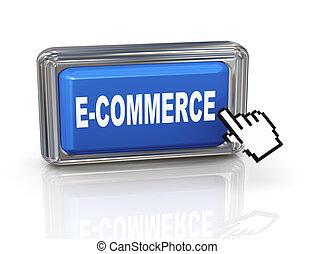 botón, -, mano, cursor, ecommerce, 3d