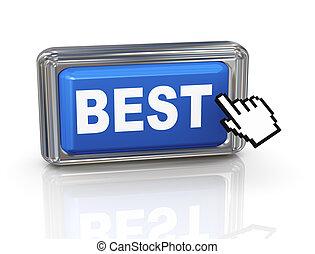 botón, -, mano, cursor, mejor, 3d