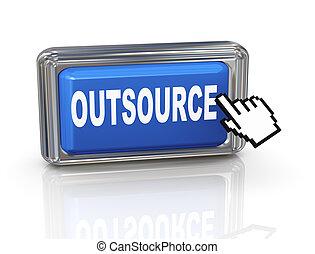 botón, -, mano, cursor, outsource, 3d