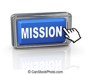 botón, -, misión, mano, cursor, 3d