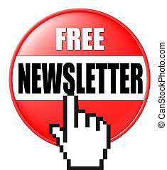 botón, newsletter, 3d