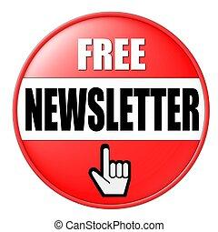 botón, newsletter, libre, rojo