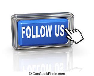 botón, -, nosotros, mano, cursor, seguir, 3d