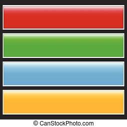 botón, o, bandera, elements., colorido, etiqueta, etiqueta, para, su, messages., resumen, rectangular, botón, forma, botón, plano de fondo, serie
