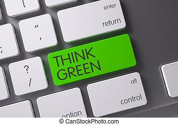 botón, -, pensar, verde, keyboard., 3d.