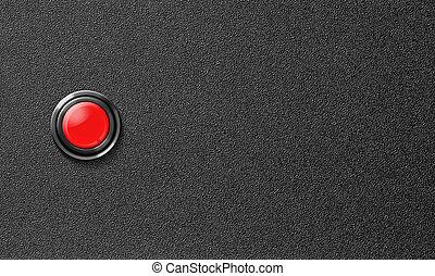 botón, plástico, comienzo, fondo negro, empujón, rojo
