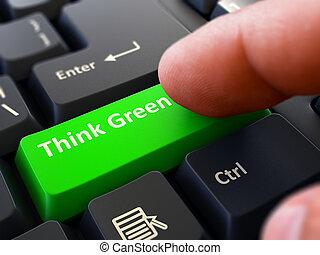 botón, planchado, negro, verde, keyboard., pensar