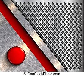 botón, plano de fondo, rojo, metálico