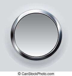 botón, plata, plano de fondo