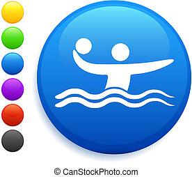 botón, polo, icono, redondo, internet, agua