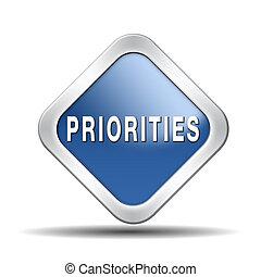 botón, priorities