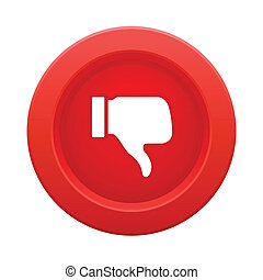 botón, pulgar, rojo, arriba