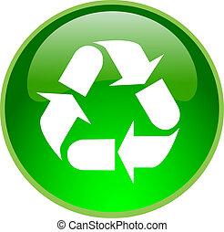 botón, reciclaje, verde