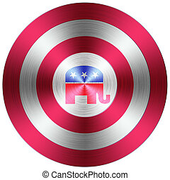 botón, republicano, metálico