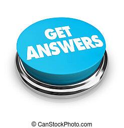 botón, respuestas, conseguir