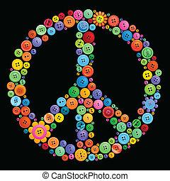 botón, signo paz