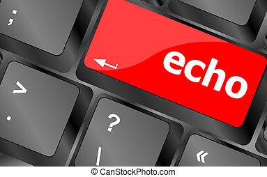 botón, teclado, llave, eco